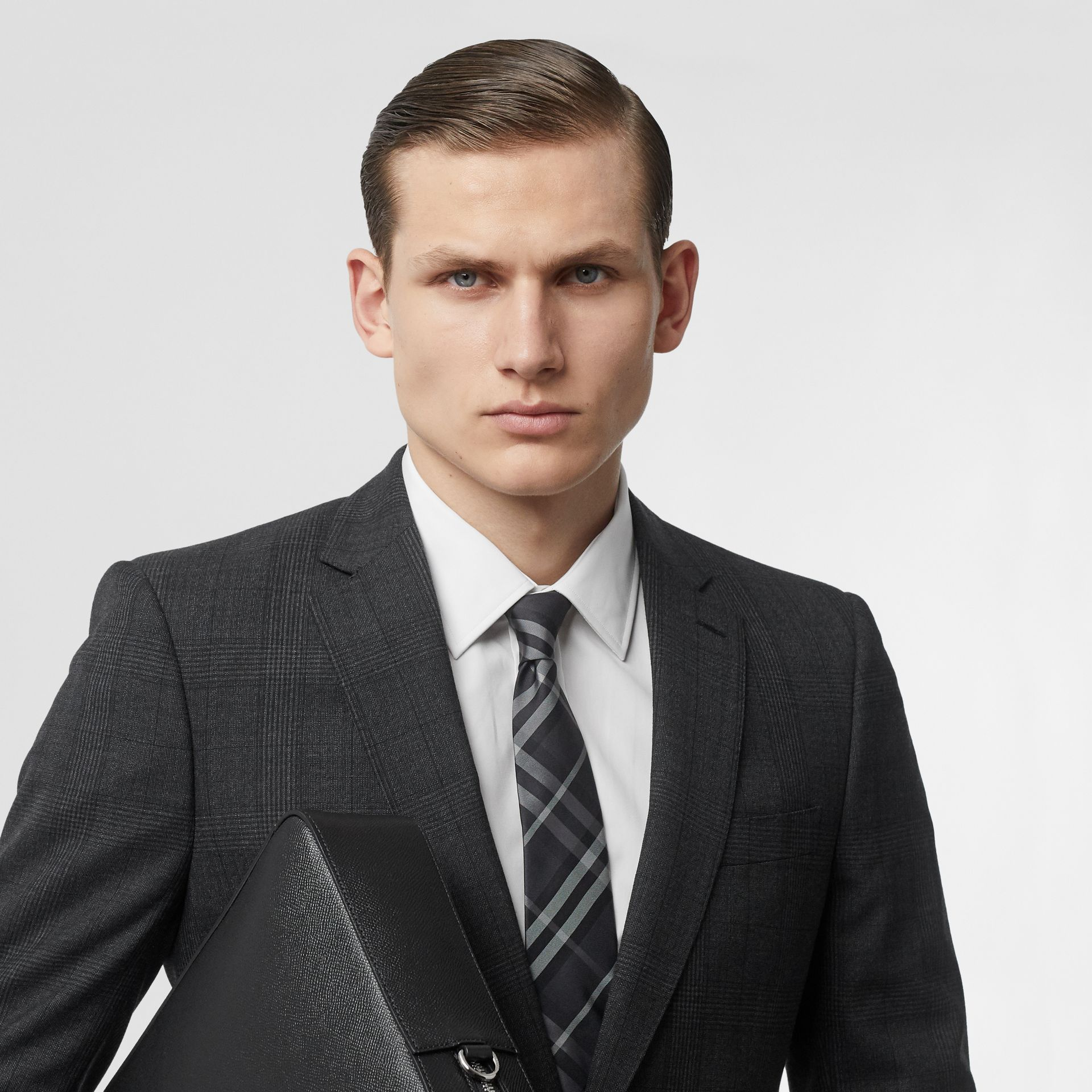 Classic Cut Vintage Check Silk Tie in Charcoal - Men | Burberry Singapore - gallery image 2