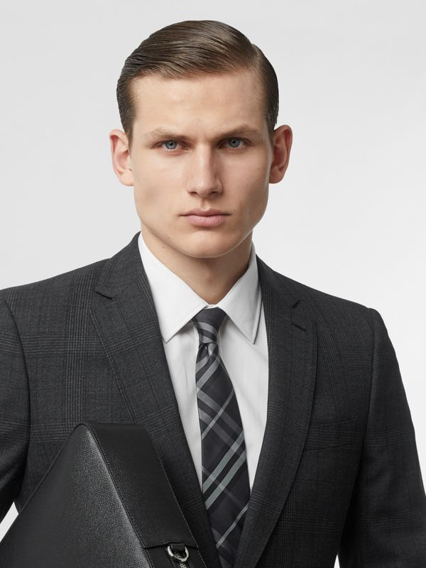 Classic Cut Vintage Check Silk Tie in Charcoal - Men | Burberry - cell image 2