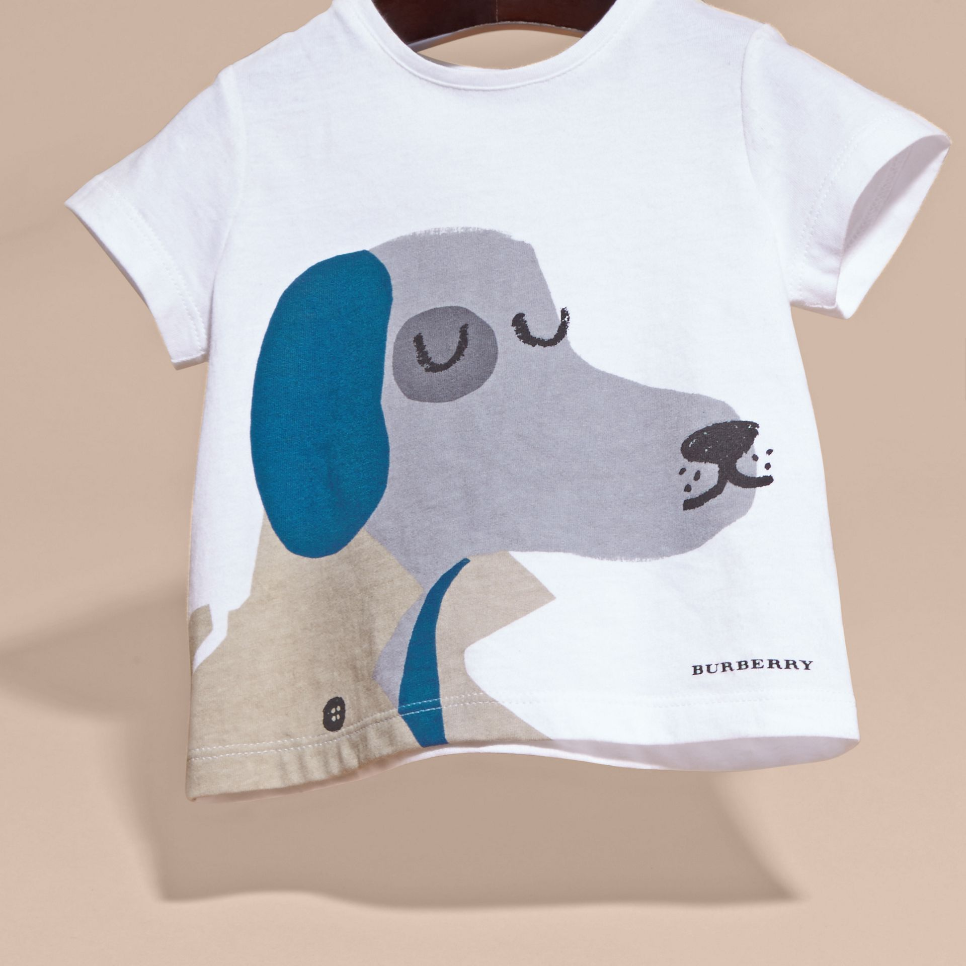 White Dog Motif Cotton T-Shirt - gallery image 3