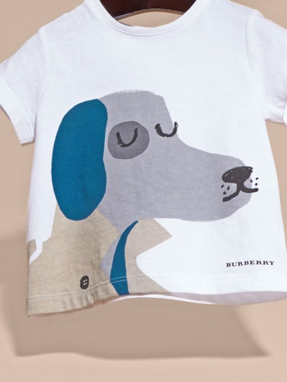 Bianco T-shirt in cotone con cane - cell image 2