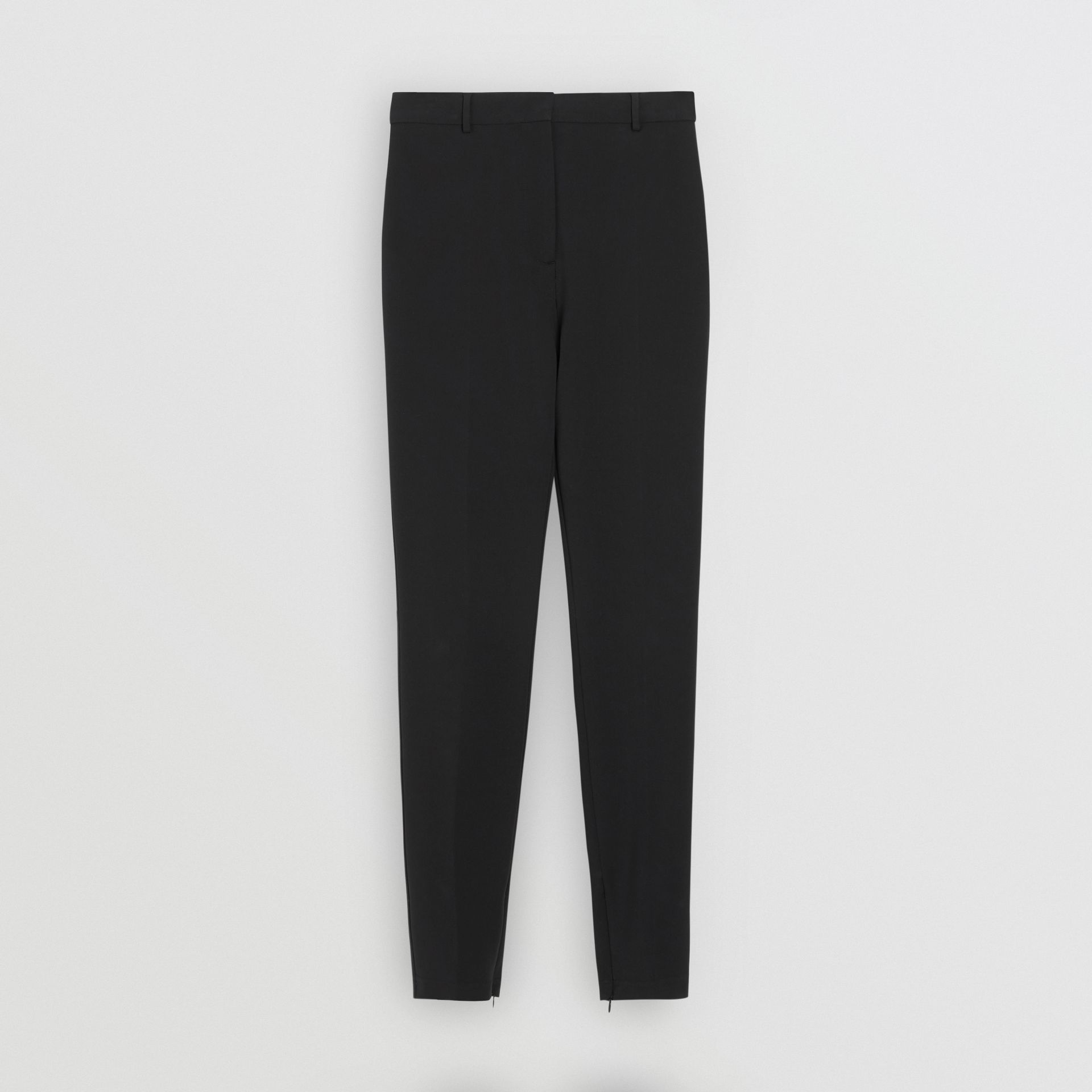 Stretch Jersey Tailored Trousers in Black - Women | Burberry United Kingdom - gallery image 3