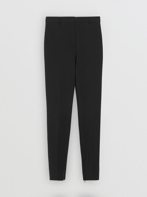 伸縮平織套量裁製長褲 (黑色)
