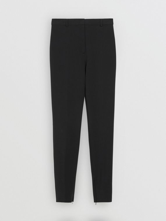 Pantalon tailleur en jersey extensible (Noir)