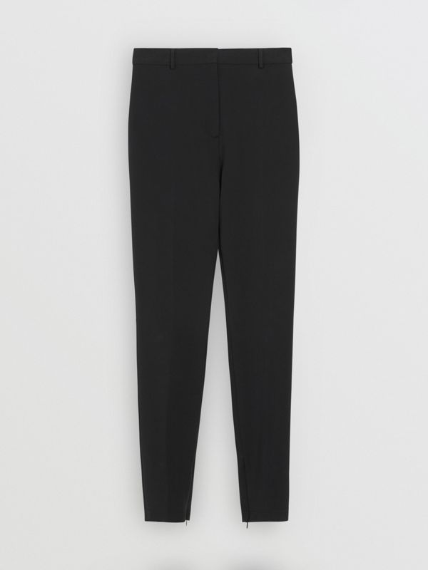 Stretch Jersey Tailored Trousers in Black - Women | Burberry Canada - cell image 3