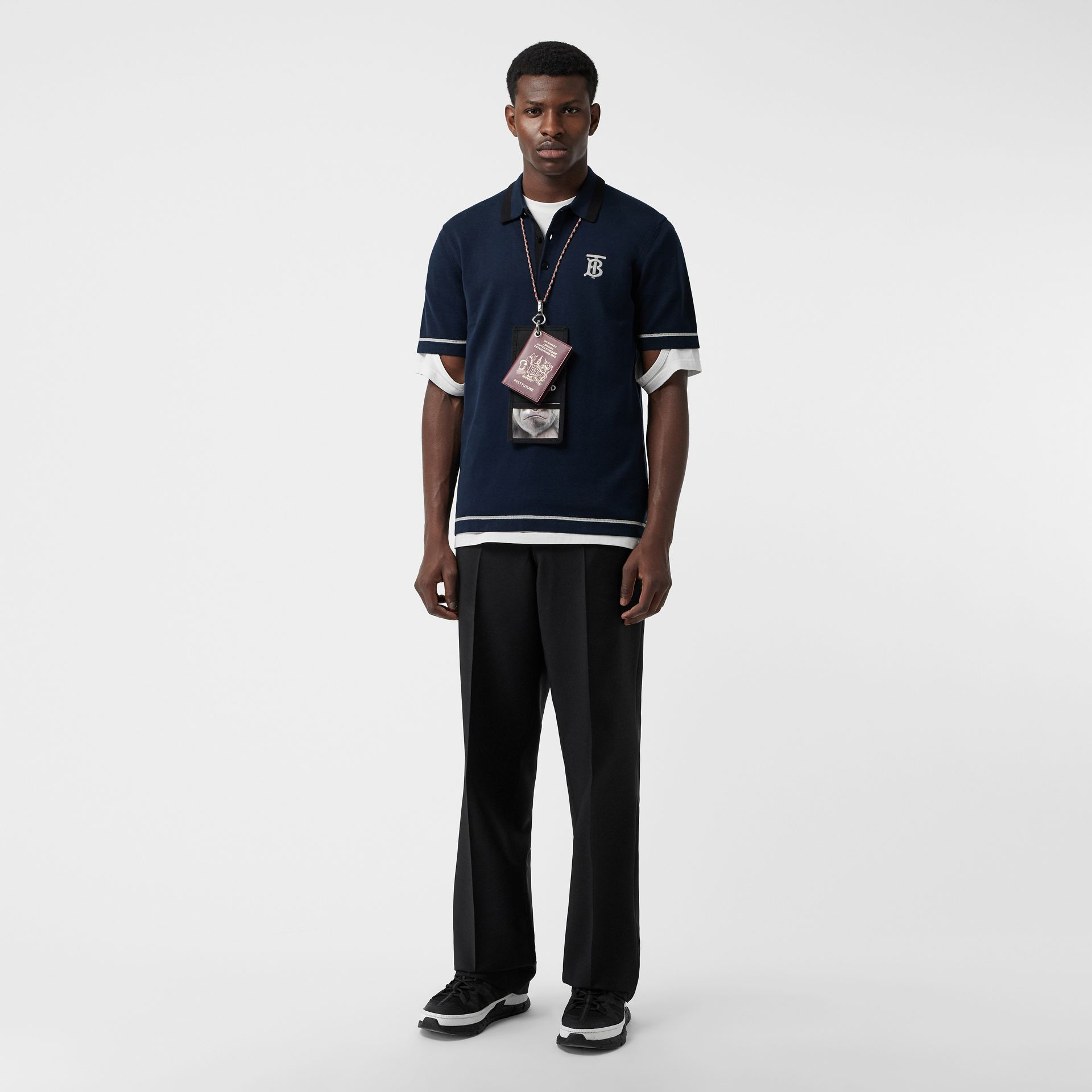 Monogram Motif Tipped Cotton Polo Shirt in Navy - Men | Burberry - gallery image 0