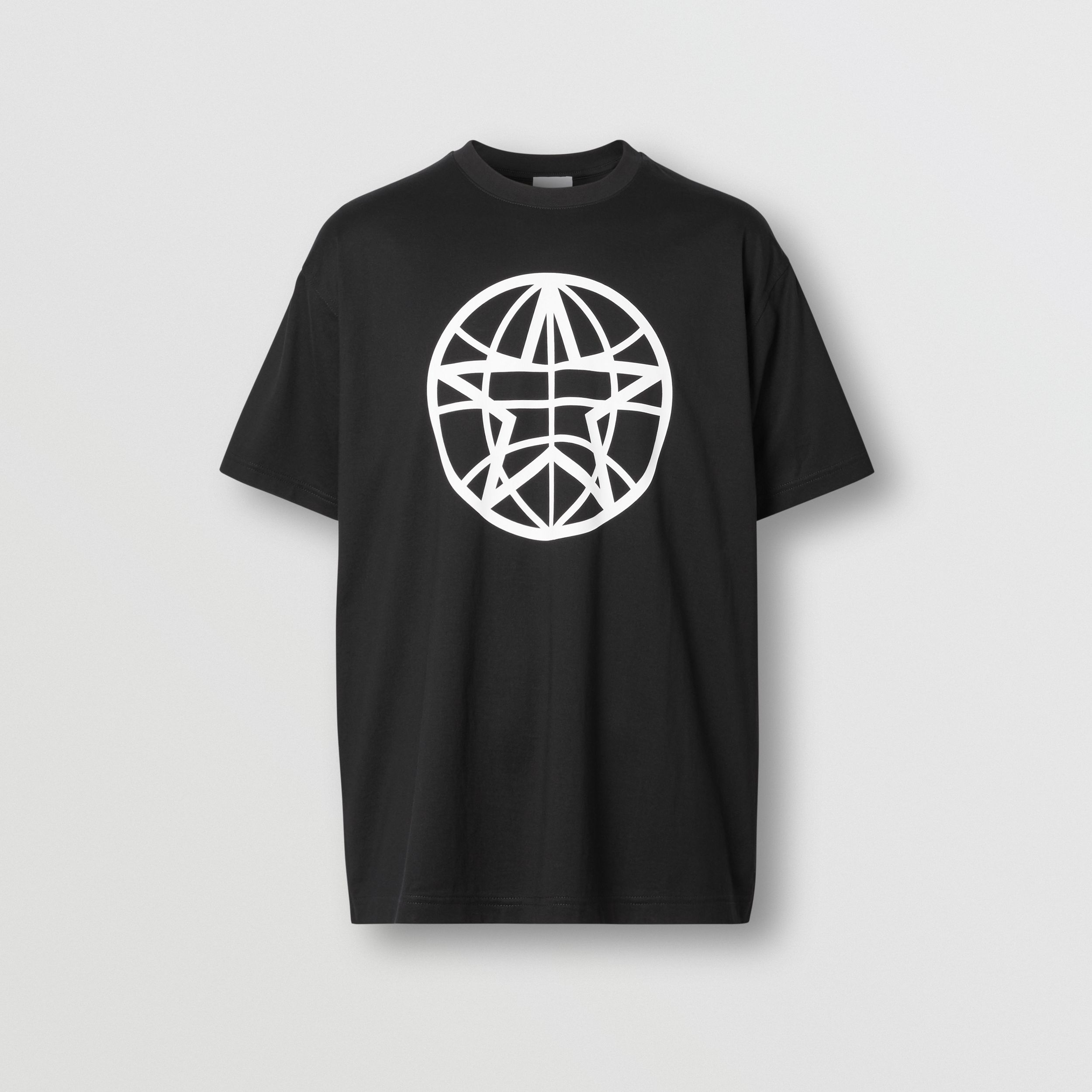 Globe Graphic Cotton Oversized T-shirt in Black - Men | Burberry - 4