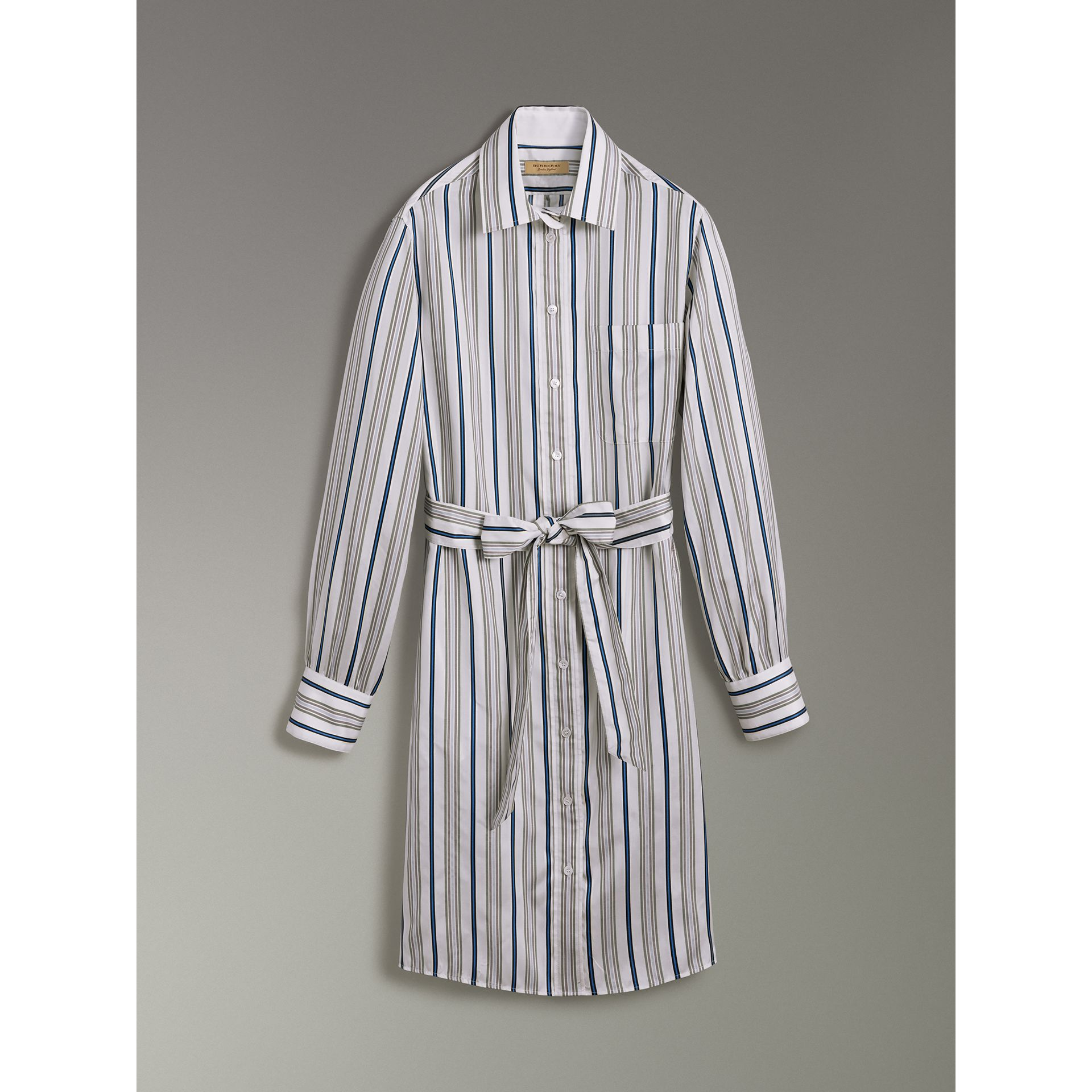 Striped Silk Shirt Dress in Off White - Women | Burberry United States - gallery image 3