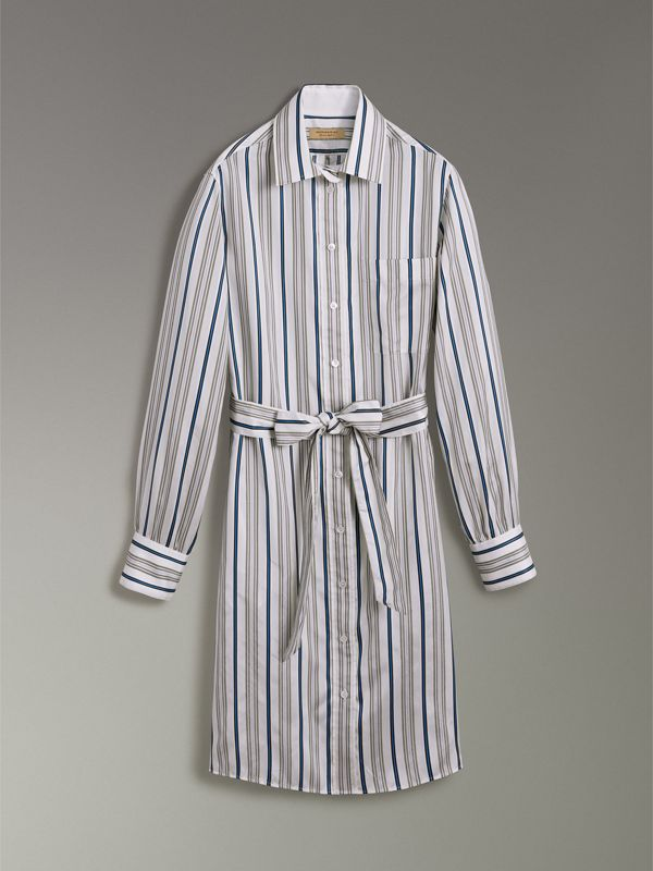 Striped Silk Shirt Dress in Off White - Women | Burberry - cell image 3