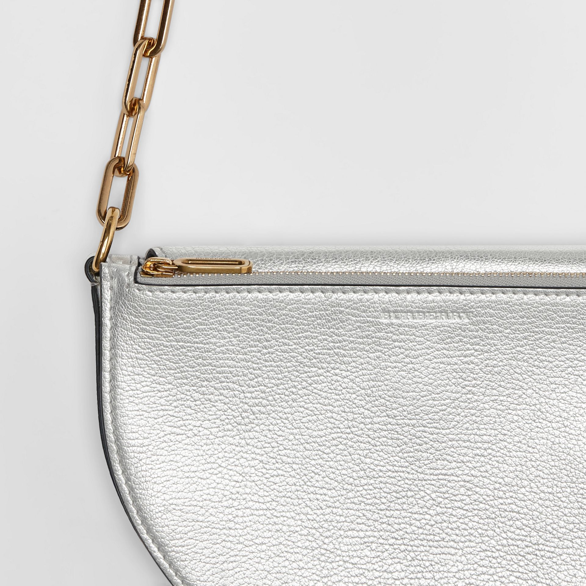 The Small Metallic Leather D Bag in Silver - Women | Burberry - gallery image 1