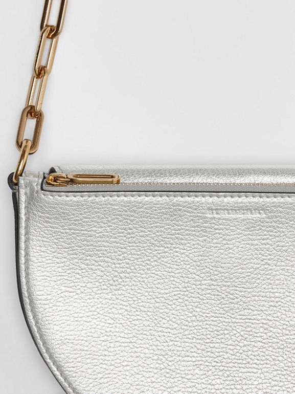 The Small Metallic Leather D Bag in Silver - Women | Burberry United Kingdom - cell image 1