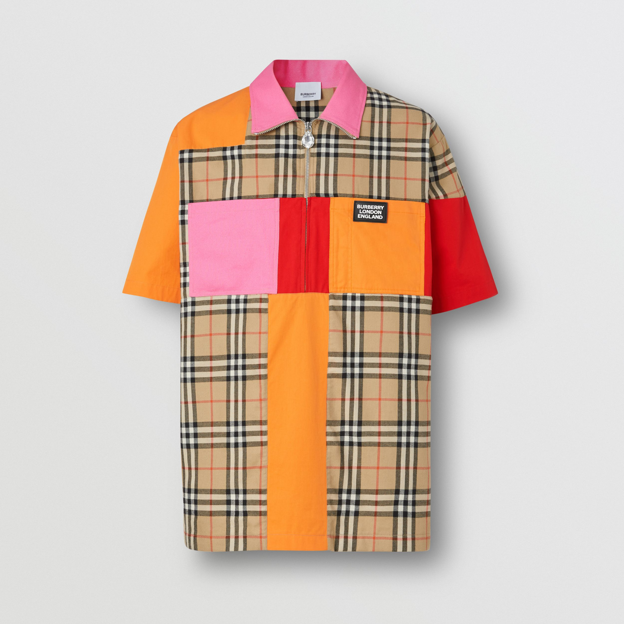 Short-sleeve Colour Block Vintage Check Cotton Shirt in Archive Beige - Men | Burberry - 4