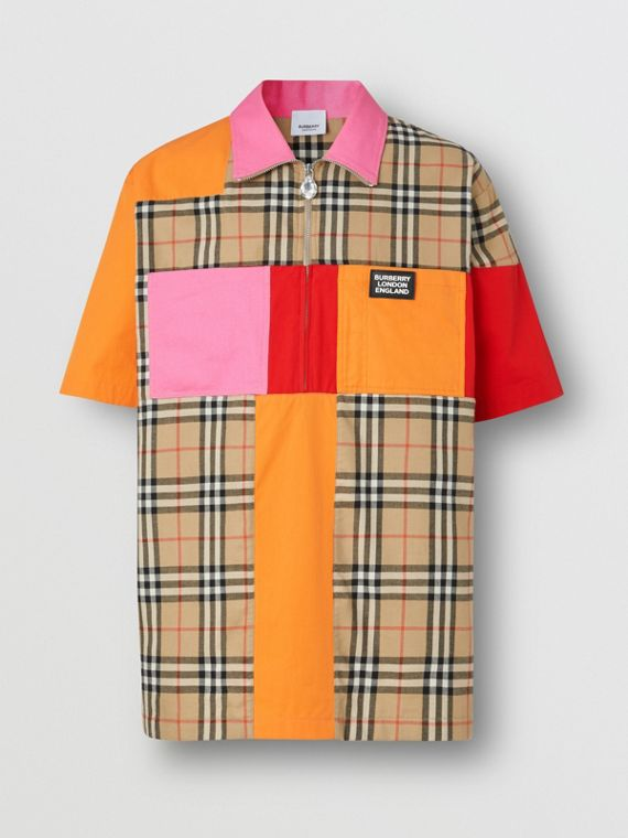 Short-sleeve Colour Block Vintage Check Cotton Shirt in Archive Beige