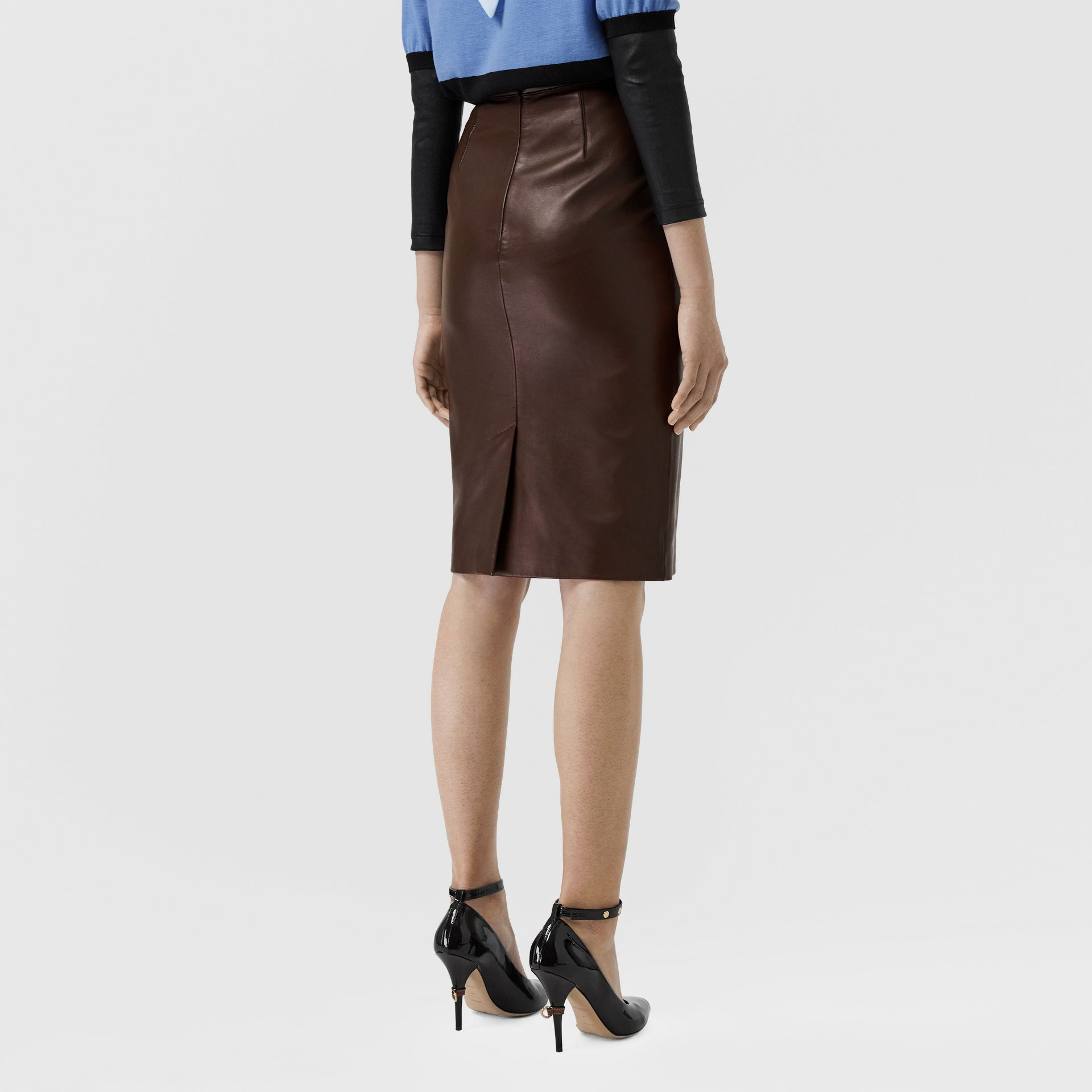 Lambskin Pencil Skirt in Mahogany - Women | Burberry Singapore - gallery image 2