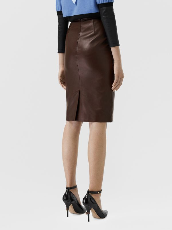Lambskin Pencil Skirt in Mahogany - Women | Burberry - cell image 2