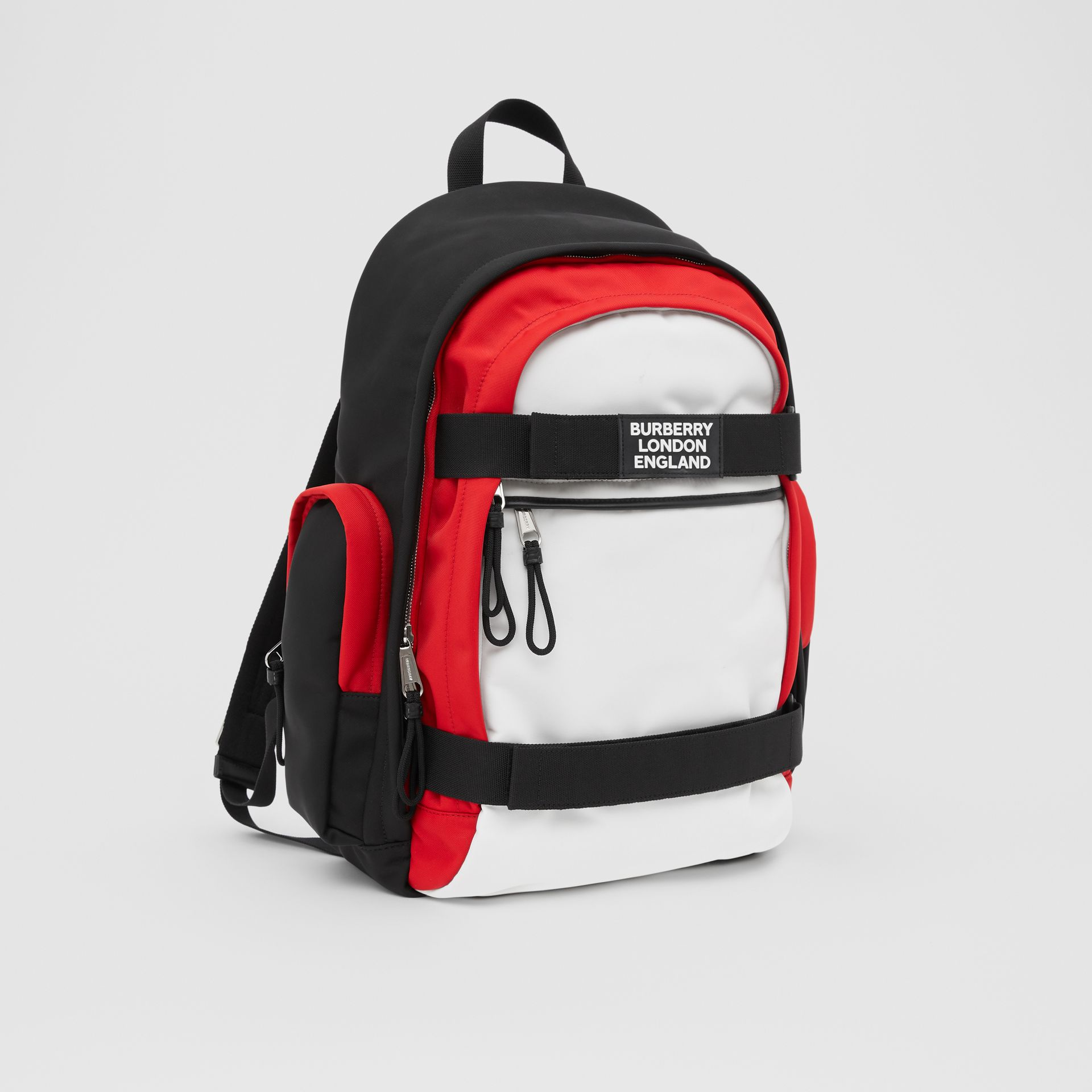 Large Colour Block Nevis Backpack in White/red/black | Burberry - gallery image 8