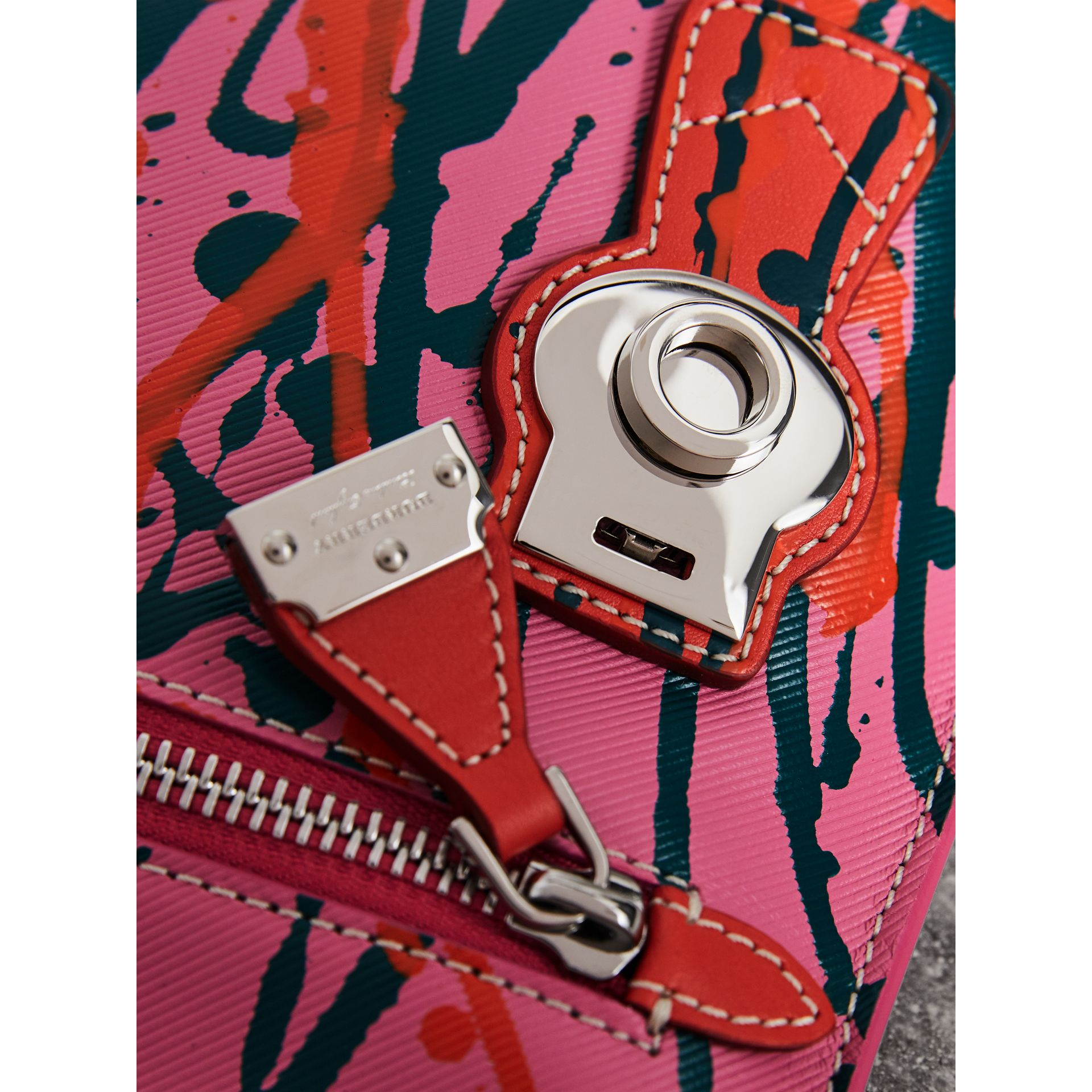 Splash Trench Leather Pouch in Rose Pink/orange Red - Women | Burberry - gallery image 1