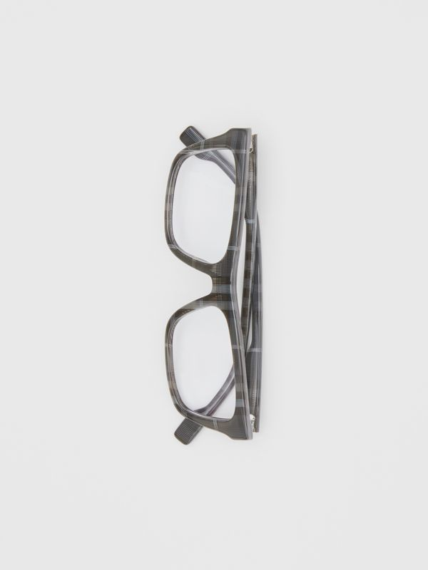 Vintage Check Rectangular Optical Frames in Charcoal Black - Men | Burberry - cell image 3