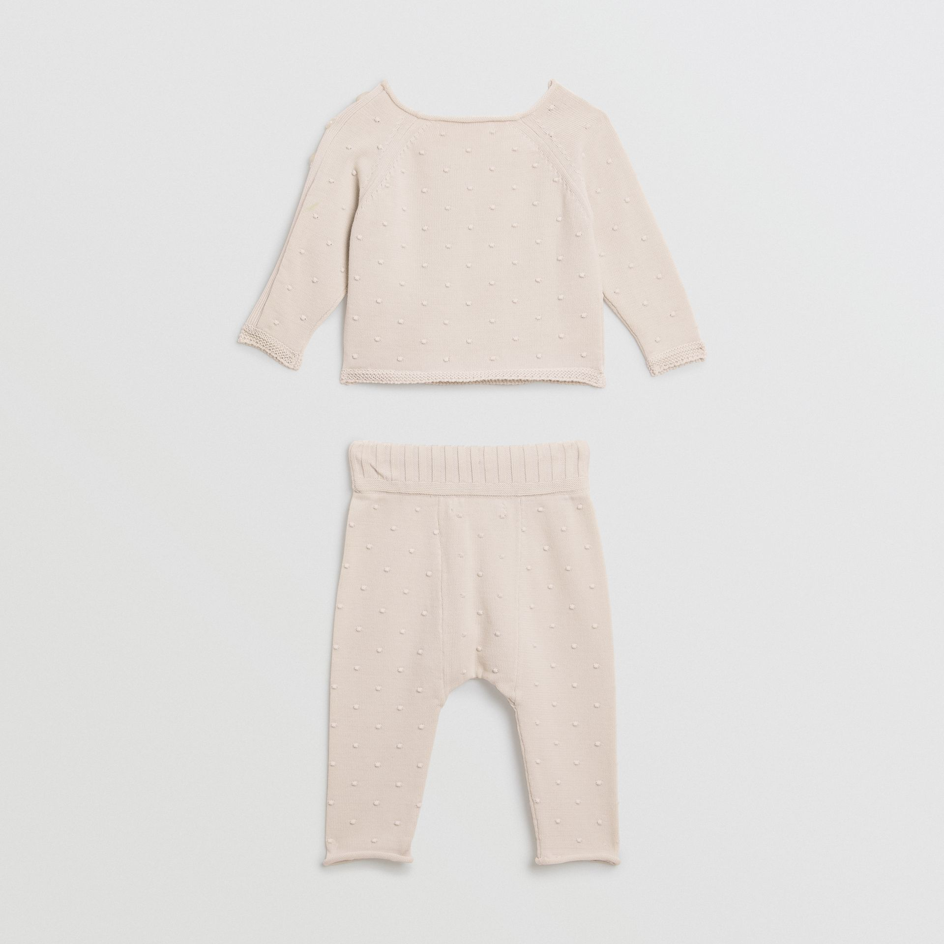 Bobble Knit Cotton Two-piece Baby Gift Set in Stone - Children | Burberry Singapore - gallery image 3