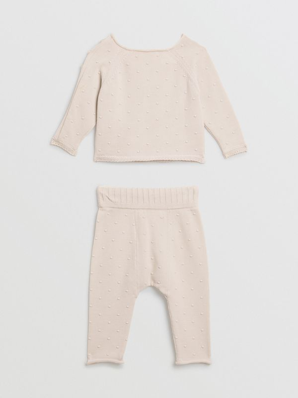 Bobble Knit Cotton Two-piece Baby Gift Set in Stone - Children | Burberry Singapore - cell image 3