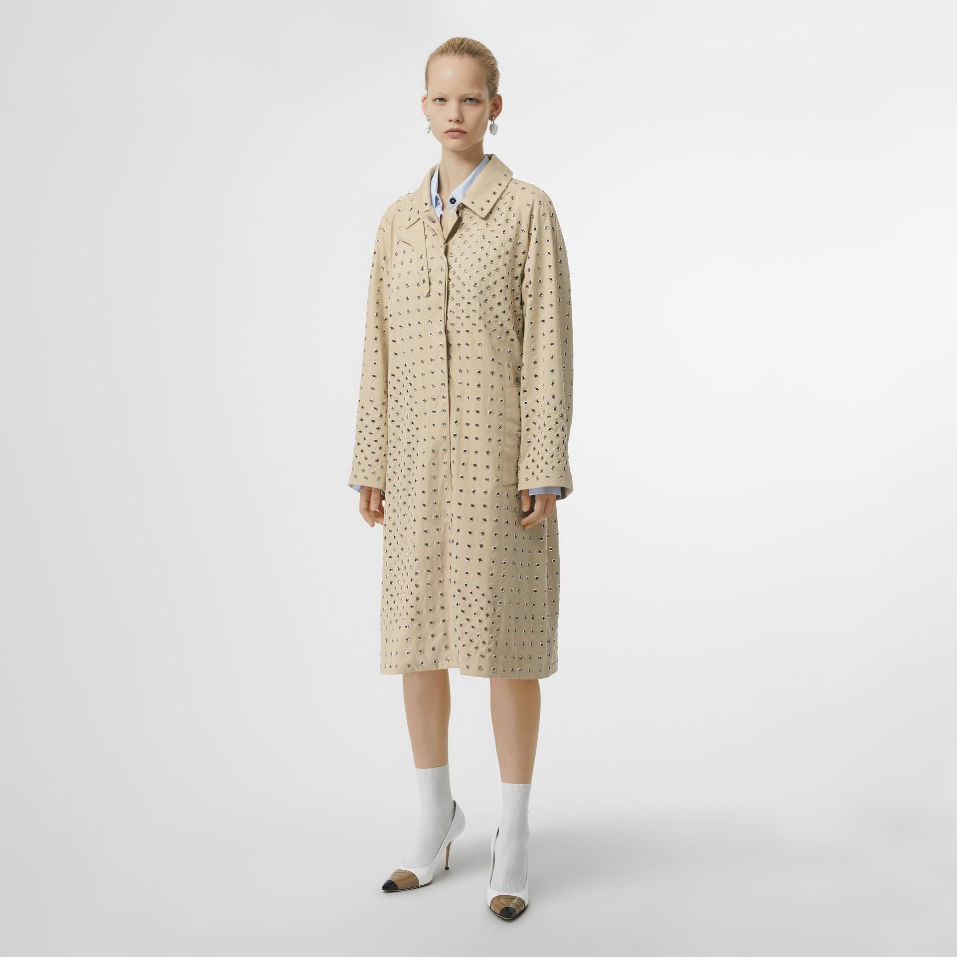 Eyelet Detail Cotton Car Coat in Light Beige - Women | Burberry - gallery image 5