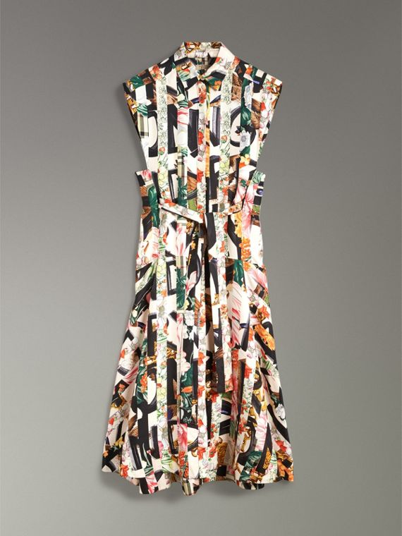 Graffiti Archive Scarf Print Silk Shirt Dress in Multicolour - Women | Burberry - cell image 3