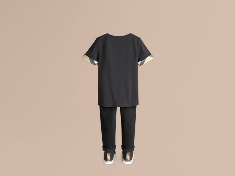 Check Detail Cotton T-shirt in Black - Girl | Burberry - cell image 2