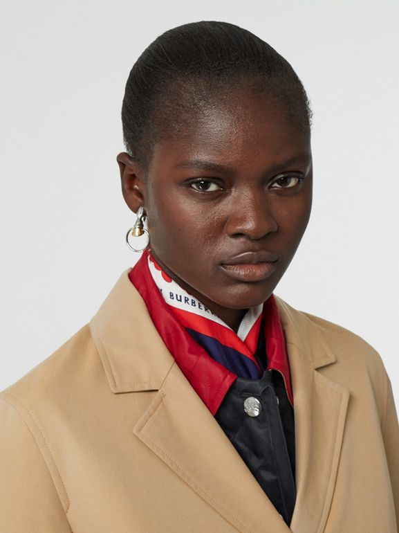 Press-stud Detail Cotton Gabardine Lab Coat in Honey - Women | Burberry Singapore - cell image 1