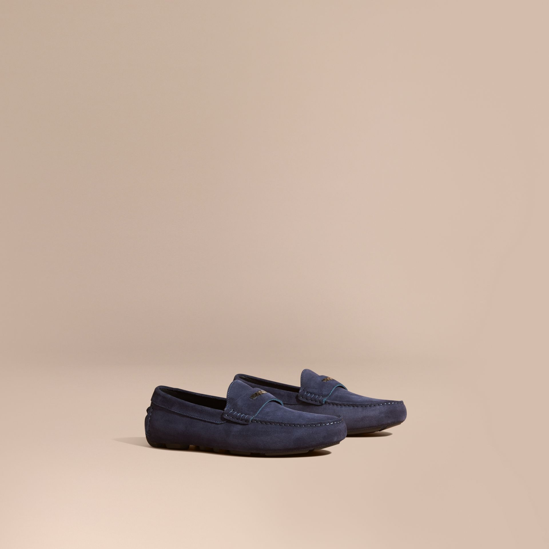 Dark navy Suede Loafers with Engraved Check Detail - gallery image 1