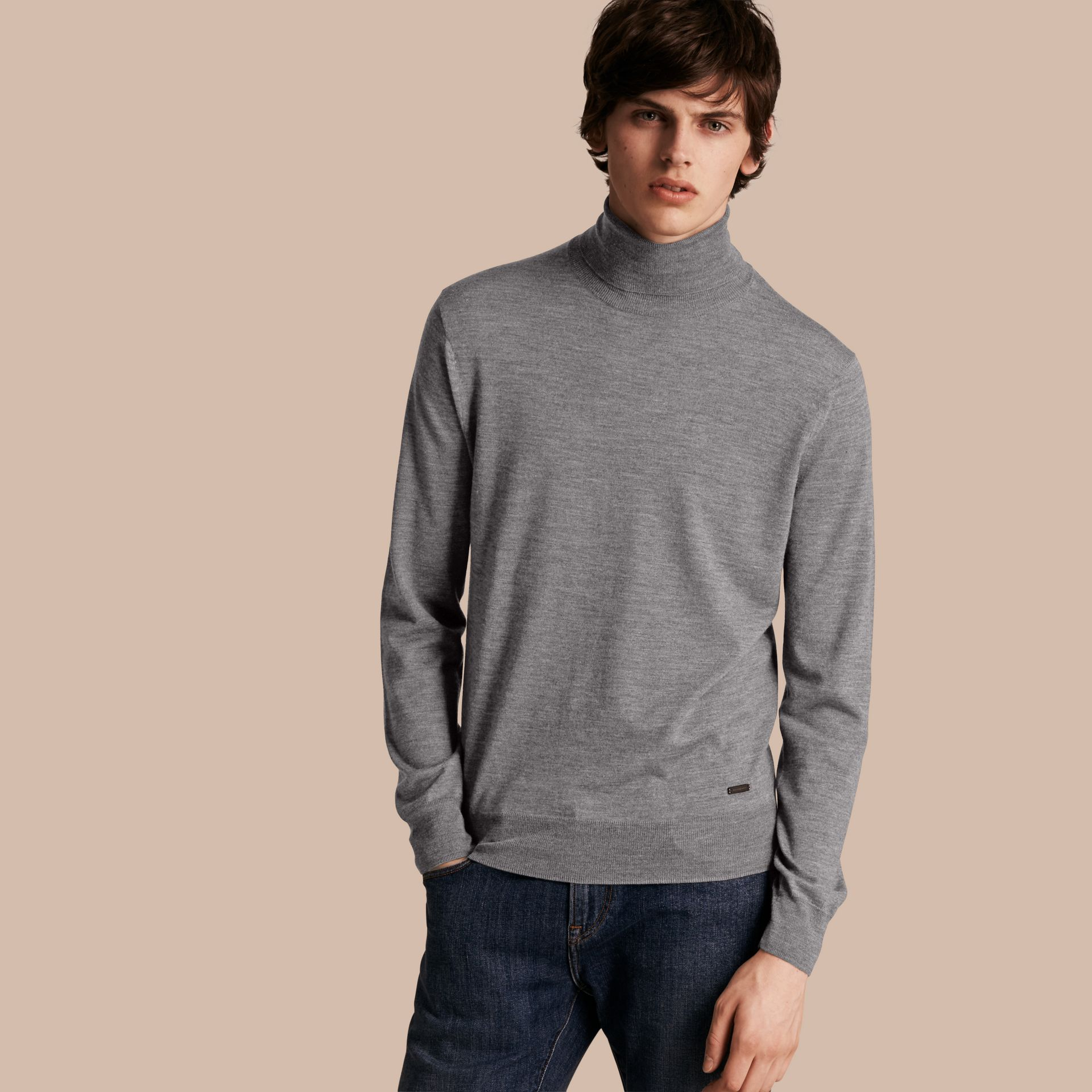Merino Wool Roll-neck Sweater Mid Grey Melange - gallery image 1