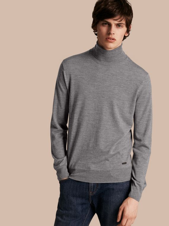Merino Wool Roll-neck Sweater Mid Grey Melange