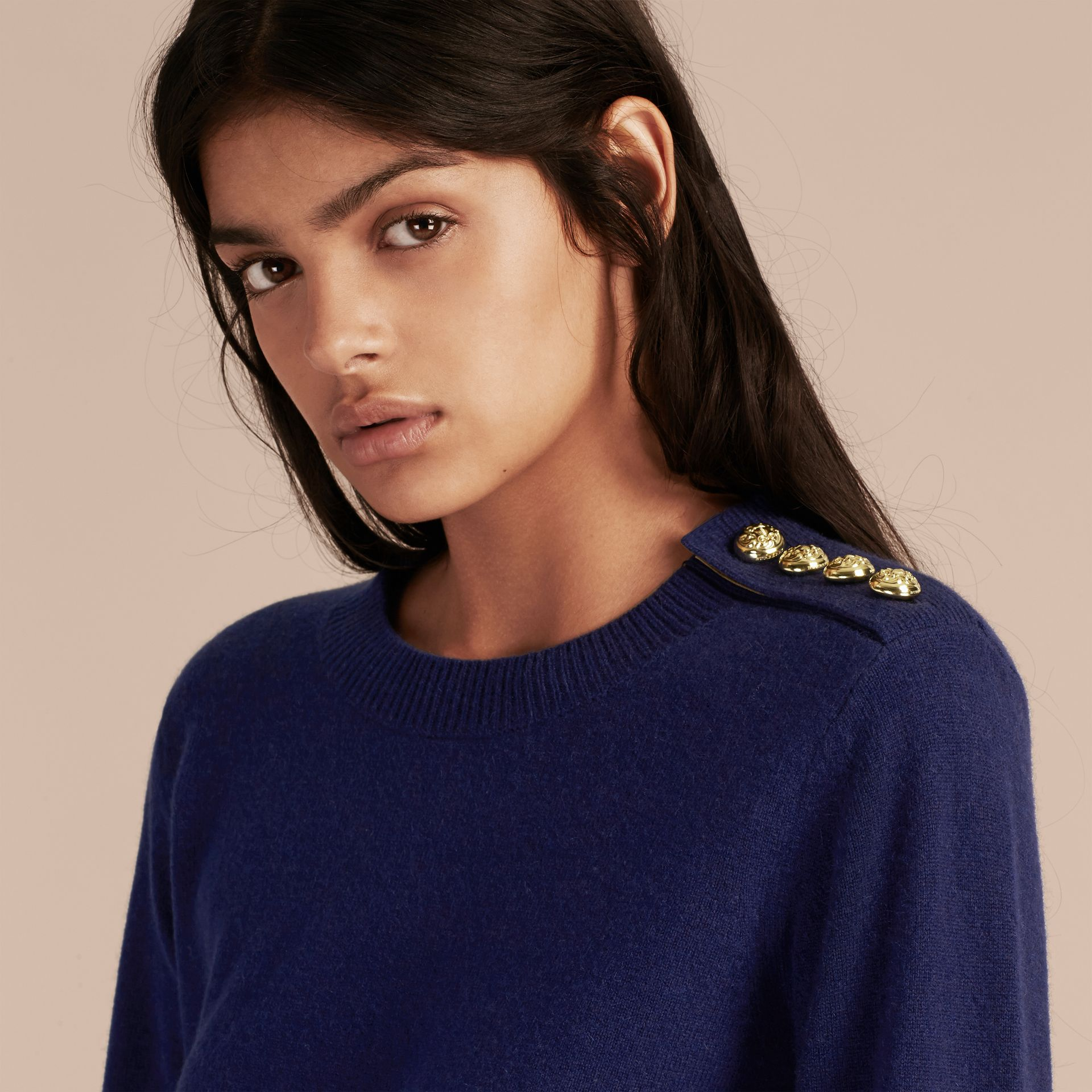 Cashmere Sweater with Crested Buttons in Bright Navy - gallery image 5