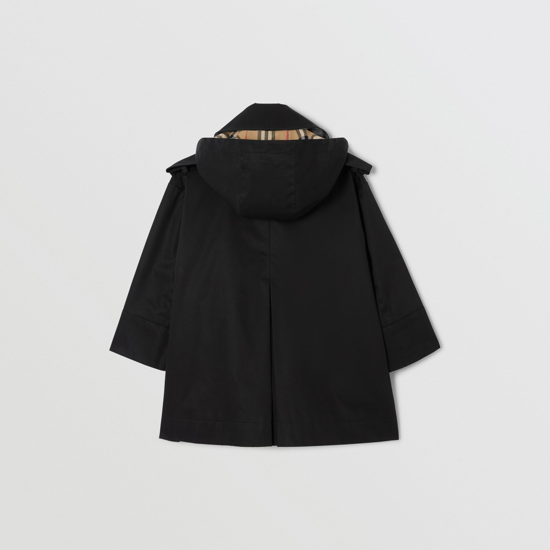 Detachable Hood Showerproof Cotton Trench Coat in Black | Burberry - gallery image 3