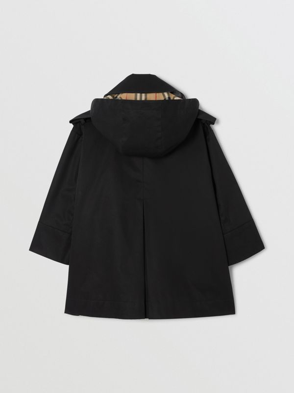 Detachable Hood Showerproof Cotton Trench Coat in Black | Burberry - cell image 3
