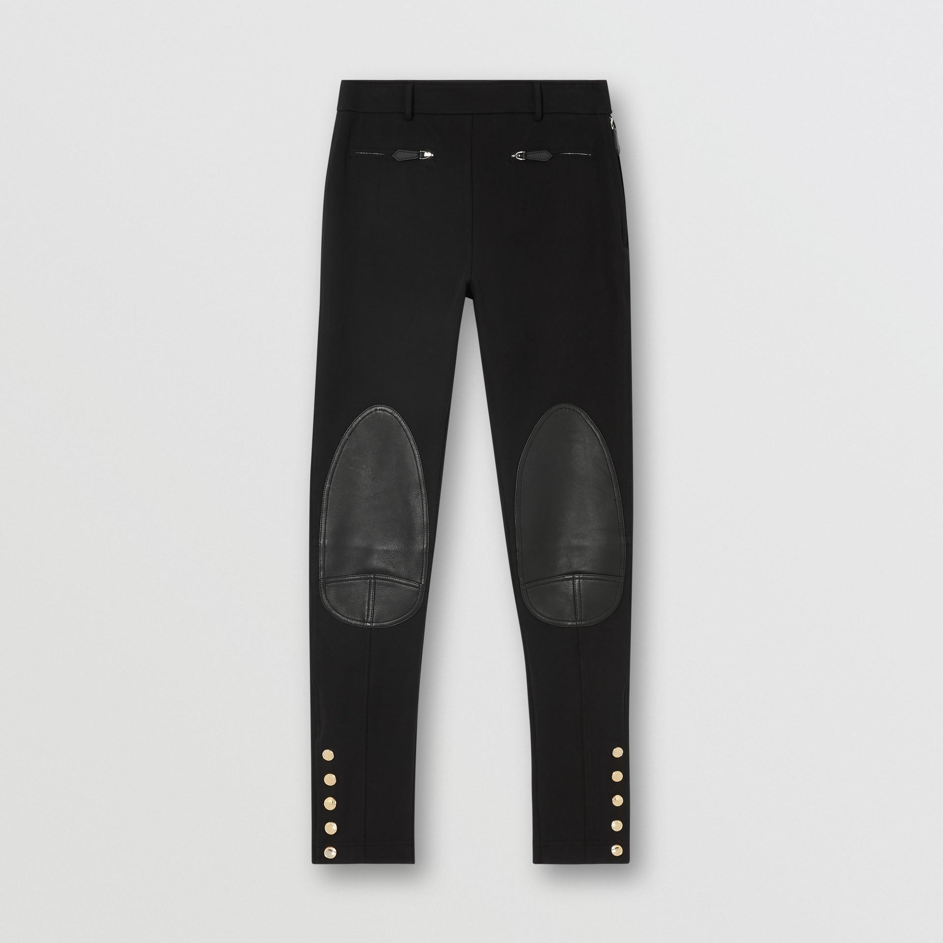 Lambskin Trim Stretch Cotton Blend Trousers in Black - Women | Burberry United Kingdom - gallery image 3