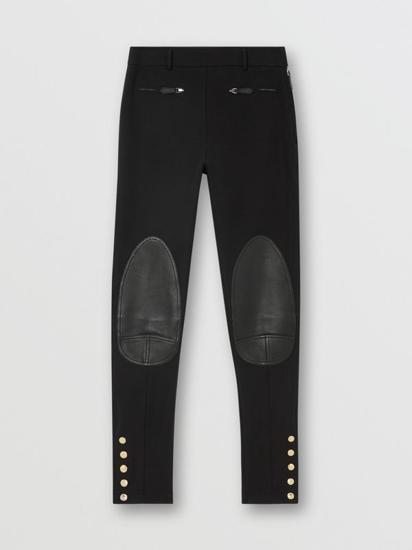 Lambskin Trim Stretch Cotton Blend Trousers in Black - Women | Burberry - cell image 3