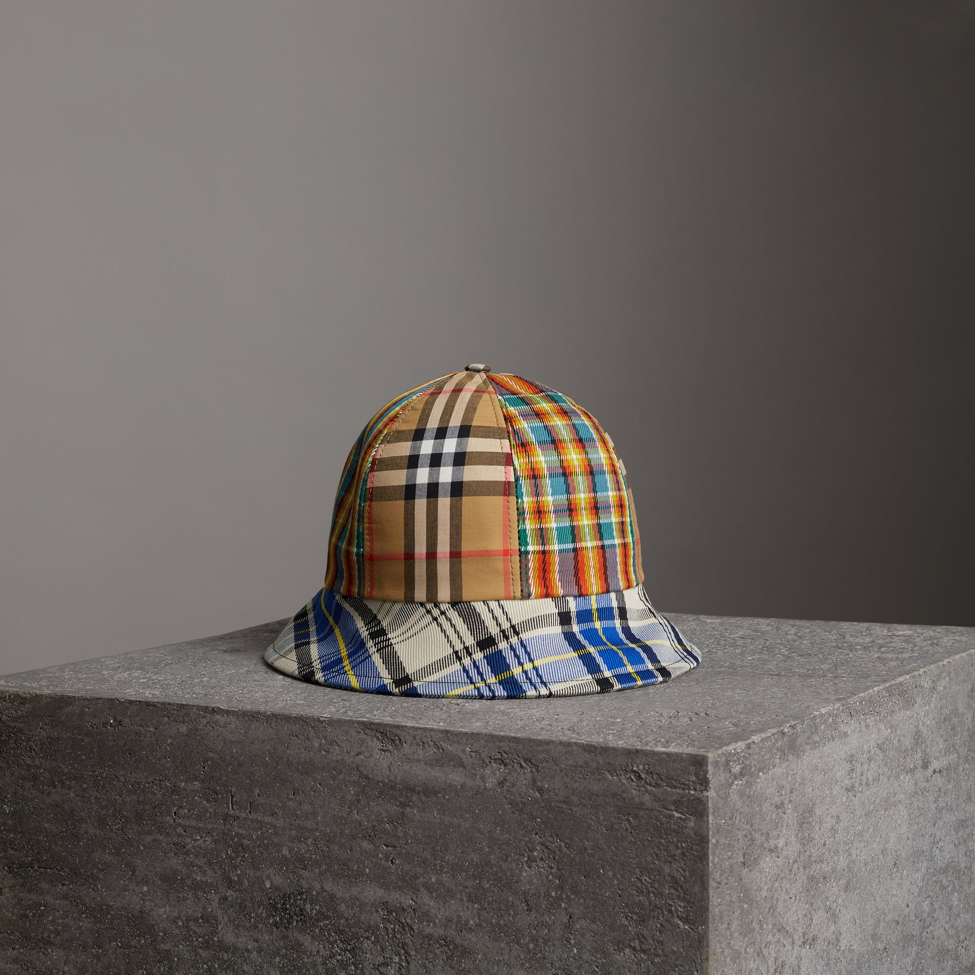 Burberry Vintage Check And Tartan Bucket Hat In Antique Yellow ... 14d19d802fd