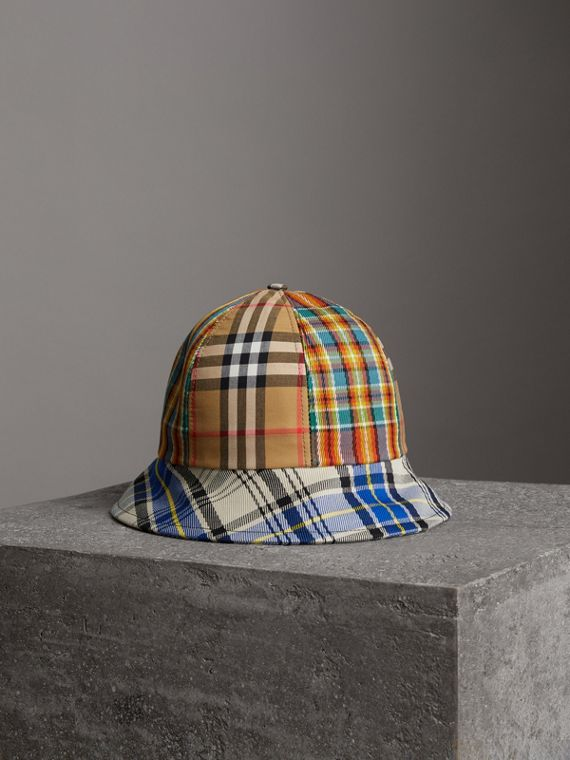 Vintage Check and Tartan Bucket Hat in Antique Yellow