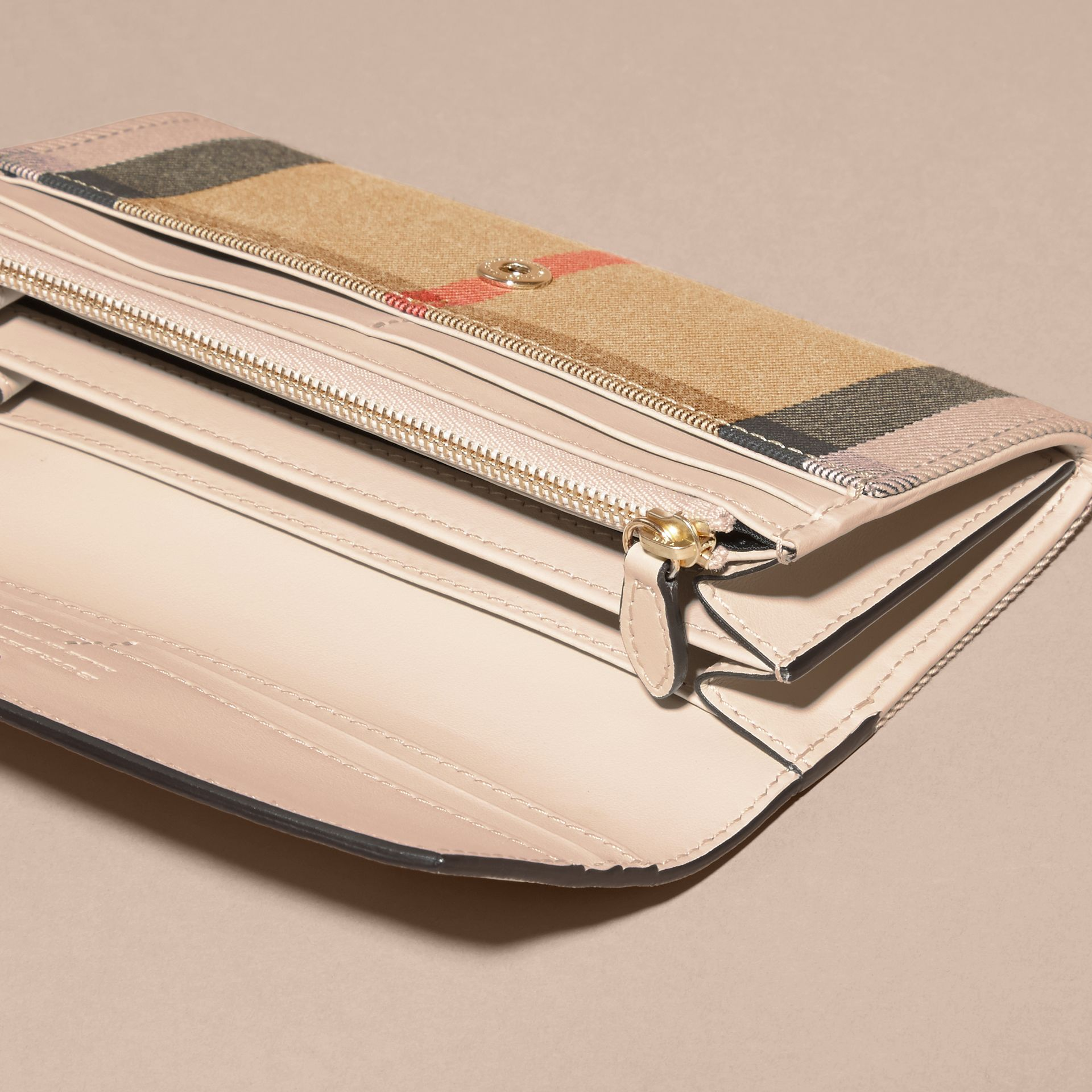 House Check And Leather Continental Wallet in Limestone - Women | Burberry Australia - gallery image 4