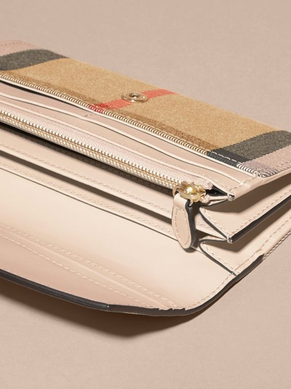 House Check And Leather Continental Wallet in Limestone - Women | Burberry Australia - cell image 3