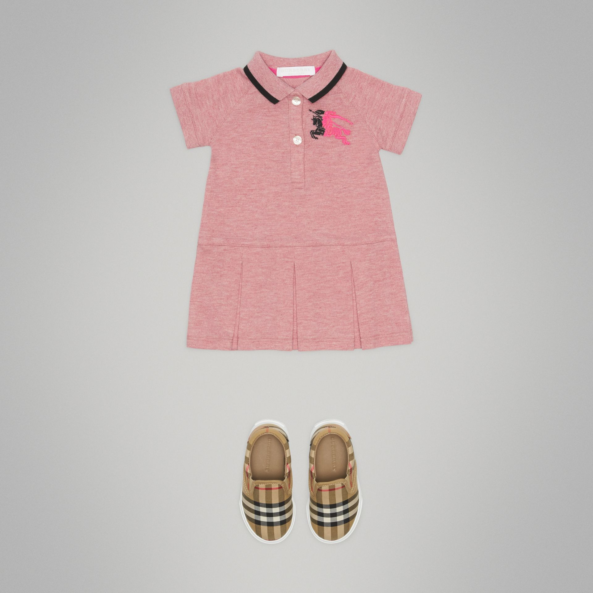 Logo Detail Tipped Cotton Polo Dress in Pale Pink Melange - Children | Burberry - gallery image 2