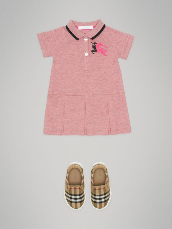 Logo Detail Tipped Cotton Polo Dress in Pale Pink Melange - Children | Burberry - cell image 2