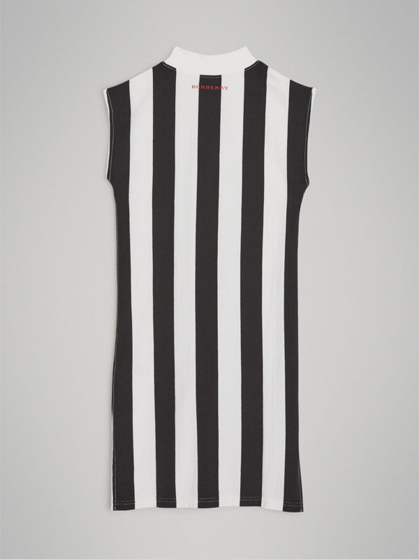 Striped Cotton Turtleneck Dress in Black | Burberry United Kingdom - cell image 3