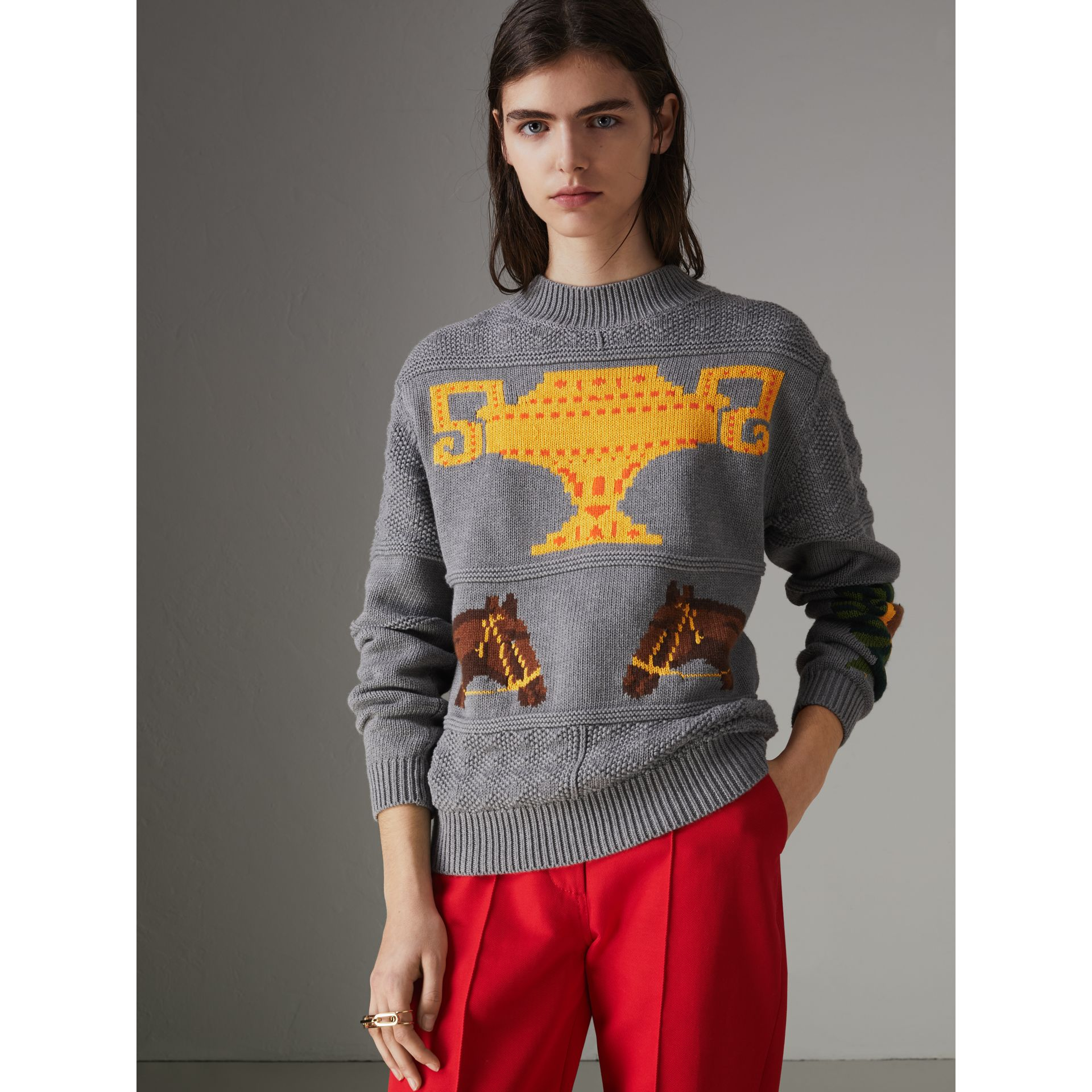 Equestrian Intarsia Cotton Wool Sweater in Grey Melange - Women | Burberry Canada - gallery image 4