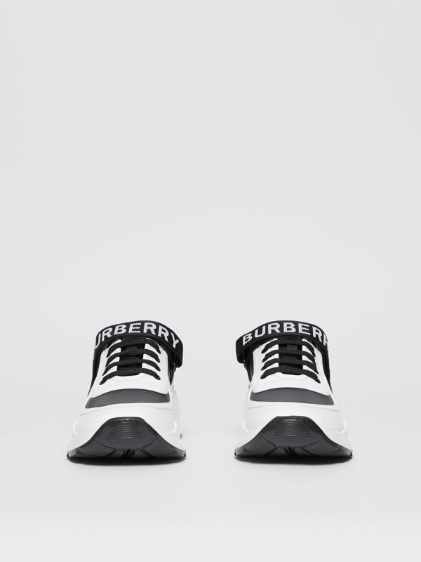 Logo Detail Leather and Nylon Sneakers in Black/optic White - Women | Burberry Singapore - cell image 2