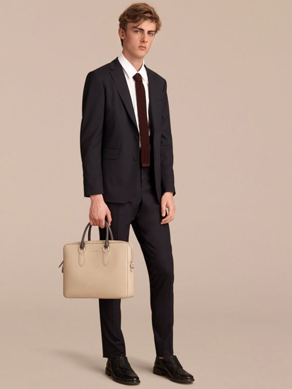 London Leather Briefcase in Honey/bitter Chocolate - Men | Burberry Hong Kong - cell image 2