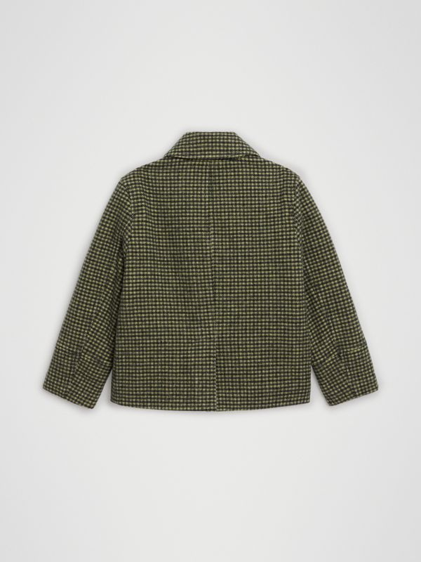 Check Wool Blend Tailored Coat in Grass Green | Burberry - cell image 3