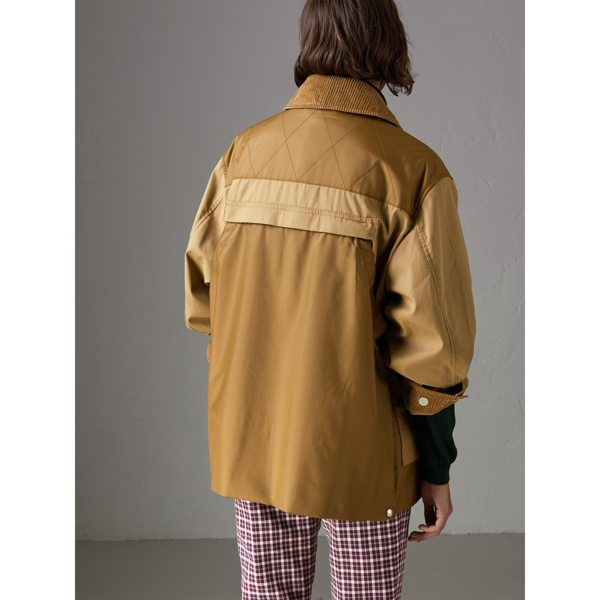 Quilted Panel Cotton Blend Jacket in Camel - Women | Burberry - gallery image 2