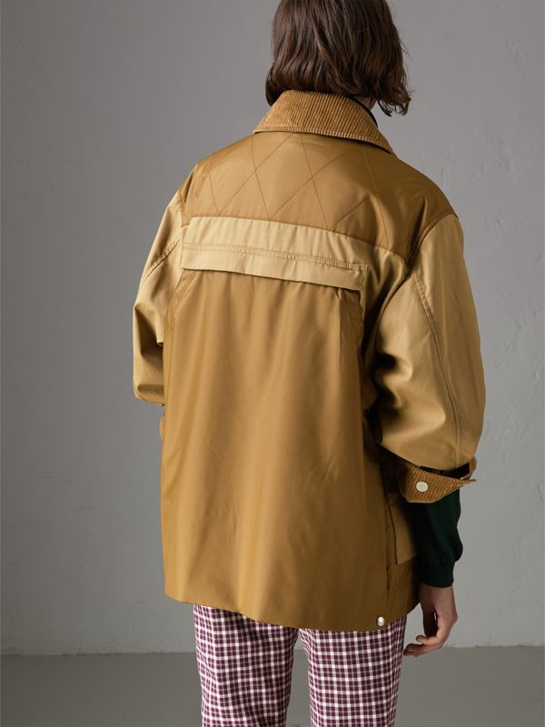 Quilted Panel Cotton Blend Jacket in Camel - Women | Burberry - cell image 2