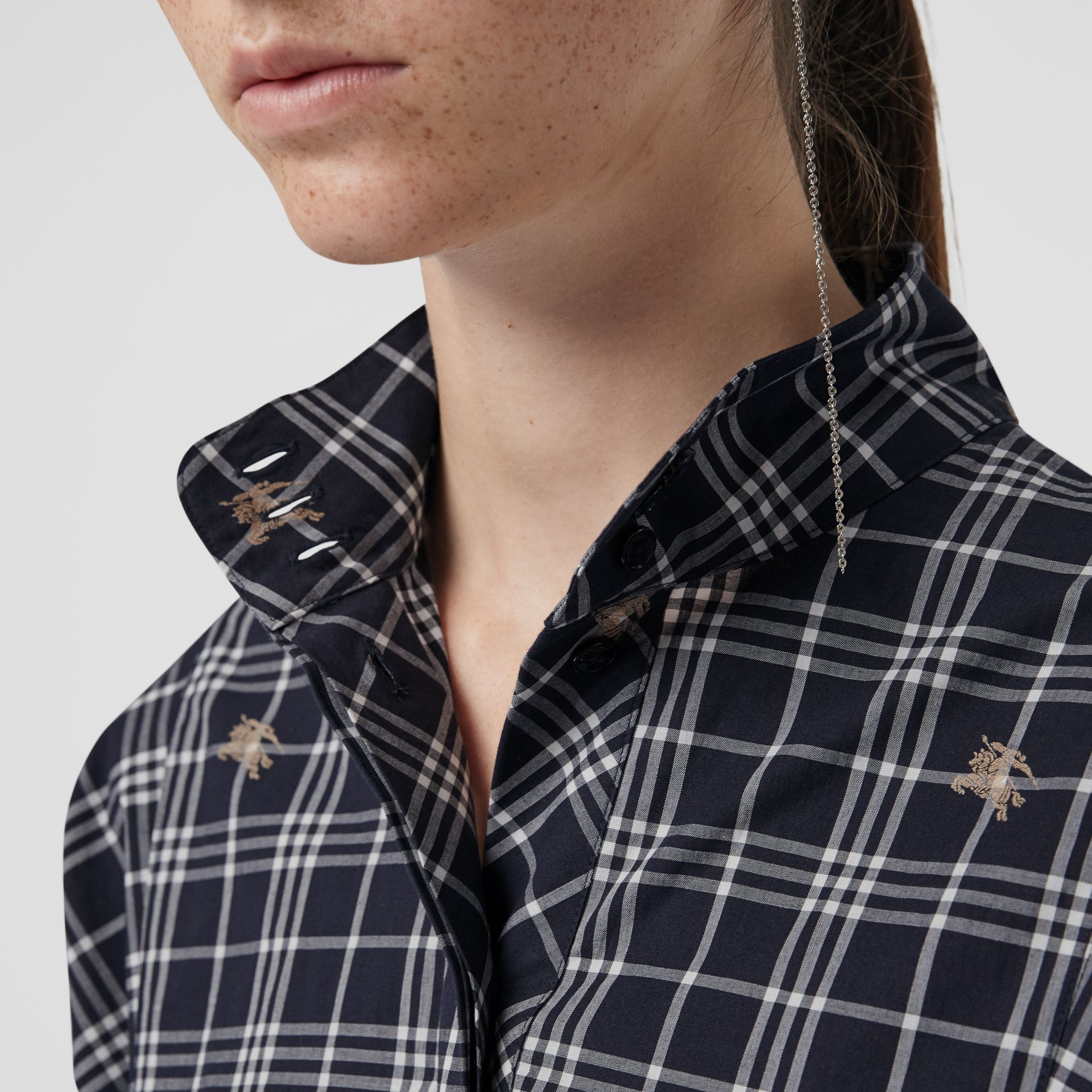 Fil Coupé Check Cotton Tie-waist Shirt Dress in Navy - Women | Burberry - gallery image 1