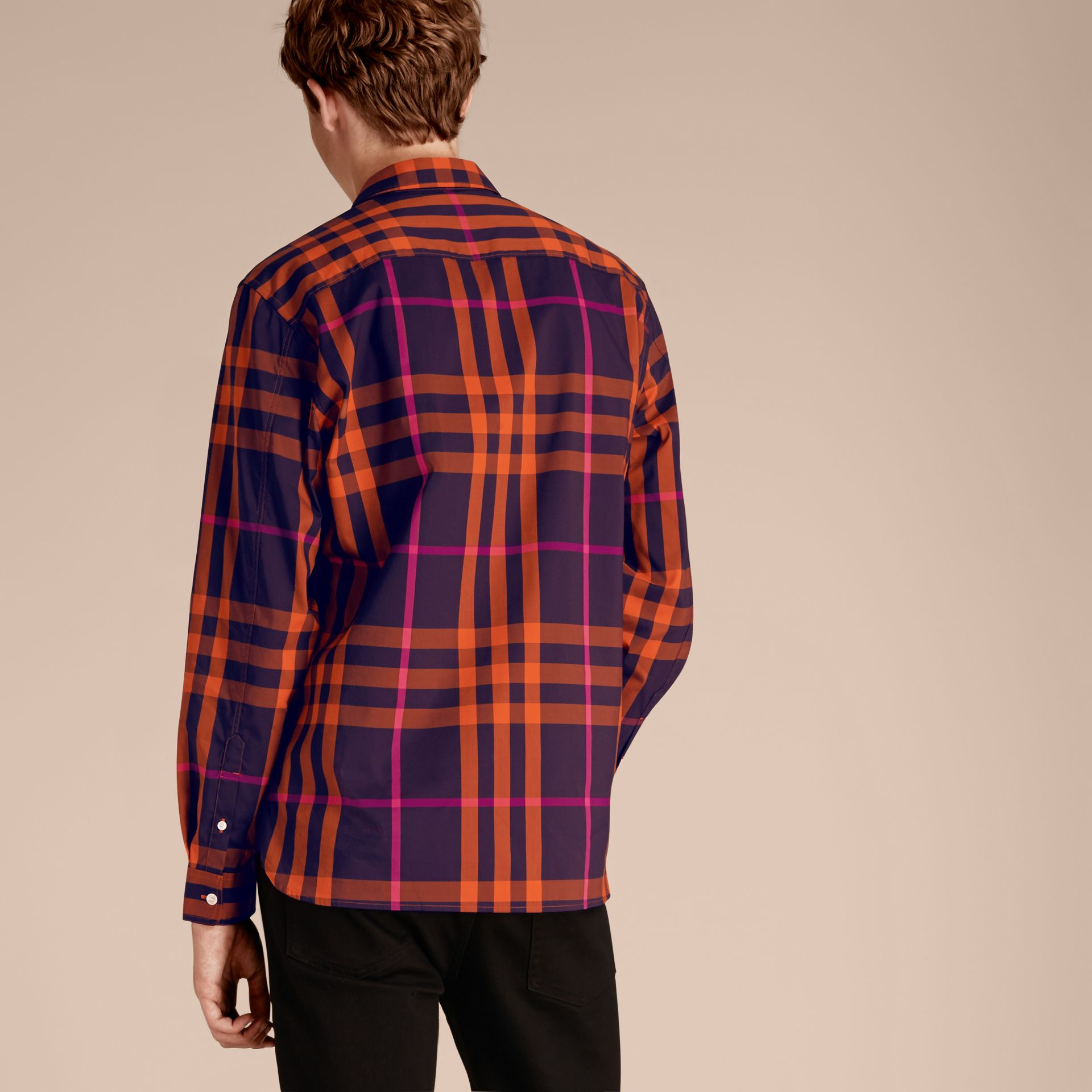 Clementine Check Stretch Cotton Shirt Clementine - gallery image 3